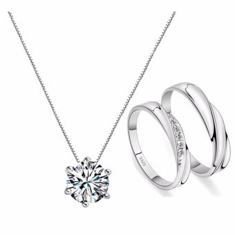 LOVE&HOME Silver Clavicle Chain Zircon Pendant Necklace G-20-012 WITH Classic Lover Couple Ring JZ-03