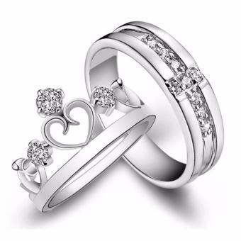 LOVE&HOME Silver Prince & Princess Imperial Crown CrossAdjustable Couple Rings JZ-09