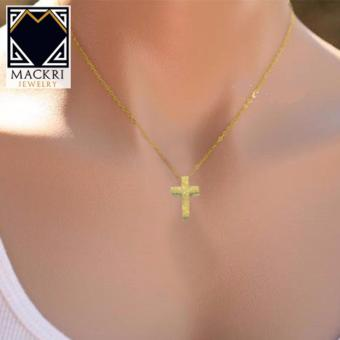 MACKRI Classic Gold Lumina Chain Necklace with Sparkling Cross Pendant