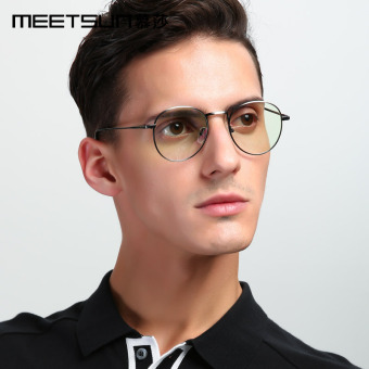 Men and women round frame plain mirror radiation glasses