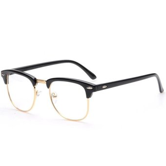 Men Women Fashion Classic Half Metal Frame Rimmed Plain Clear Lens Glasses Decorative Accessory Frame for Myopia Glasses Bright Black + Gold - intl Price Philippines