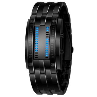 Men's Black Stainless Steel Date Digital LED Bracelet Sport Watches Black - intl