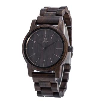 Mens Classic Casual Natural Wood Watch Quartz Wooden Band GiftGiving Wrist Watch Black Sandalwood - intl