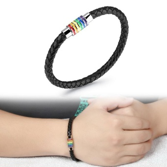 Men's Leather Titanium Steel Bracelet Rainbow Magnet Adsorb Buckle- intl