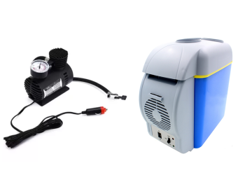 Mini DC 12V Electric Car Inflatable Pumping Air Pumps Compressor300 PSI With Portable Car Electronic 2-in-1 Cooling and WarmingRefrigerator Fridge Storage 7.5L