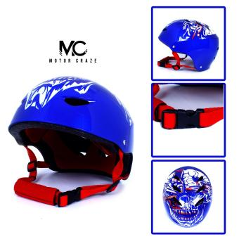 Motor Craze HNJ Blue Monster Half Face Crash Safety PassengerHelmet