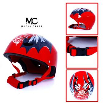 Motor Craze HNJ Red Monster Half Face Crash Safety Passenger Helmet