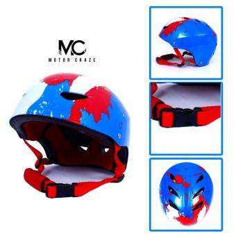 Motor Craze HNJ Splattered Red/White Half Face Crash SafetyPassenger Helmet