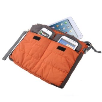 Multi-functional Gadget Pouch Bag in Bag Handbag Travel Storage BagOrganizer for iPad /Tablets (Orange)