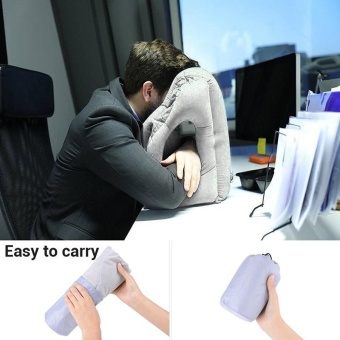 Multifunction Inflatable Air Travel Pillow Airplane Office Desk Nap Pillow Grey - intl