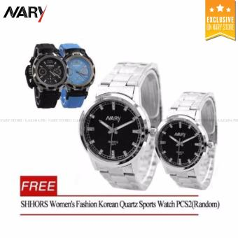NARY 6077 Couple's Stainless Steel Strap Watch(Silver/Black) With Free SHHORS Women's Fashion Korean Quartz Sports Watch PCS2(Random)