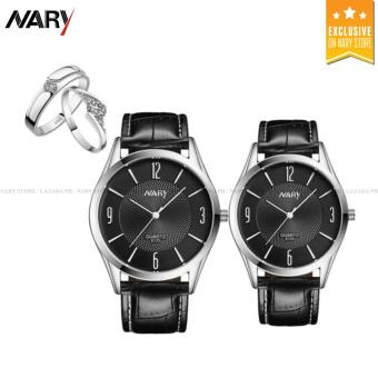 NARY 6125 Lovers' Fashion Leather Strap Quartz Couple Watch(Black) with Free E016 Fashion Opening Couple Rings Lover's Bands