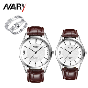 NARY 6125 Lovers' Fashion Leather Strap Quartz Couple Watch(Brown) with Free E027 Fashion Opening Couple Rings Lover's Bands