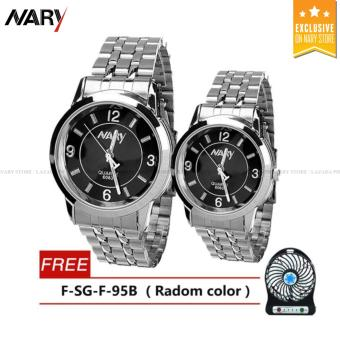 NARY Couple Black/Silver Stainless Steel Strap Watch 6063 with Free F-SG-F-95B (Radom Color)