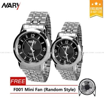 NARY Couple Black/Silver Stainless Steel Strap Watch 6063 with Free F001(any color)