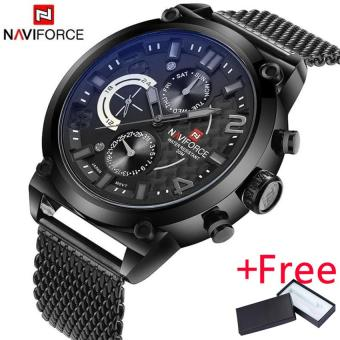 Naviforce Luxury Brand Men Stainless Steel Analog Watches Men's Quartz 24 Hours Date Clock Man Fashion Casual Sports Wirst Watch - intl
