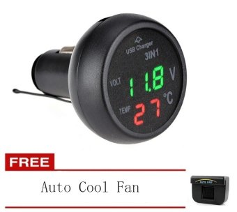 New 3in1 Car LED Voltmeter Digital Thermometer Car Battery MonitorCar Mounted Charger With Auto Cool Fan