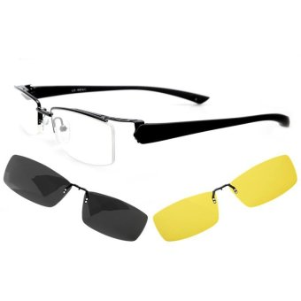 New Eyeglasses fashion men myopia optical frame spectacle frame fordegree of glasses Magnetic clip Polarized Night Vision goggle clip6052b - Intl