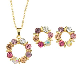 New Fashion Jewerly Sets Gold Color Chain Colorful RhinestoneFlower Pendant Necklace and Cute Stud Earrings - Intl