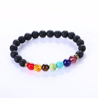 New Fashion Natural Stone Beads Bracelets Black Lava Stone BraceletFor Men Women Healing Balance Beads Yoga Bracelets - intl Price Philippines