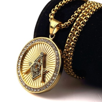 New Iced Out Gold Plated Freemason Masonic Compass G Round Pendant Free-Mason Freemasonry Hip Hop Necklace for Men/Women - intl
