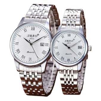 New Trend Couples Watches Lovers Stainless Steel Watchband Waterproof Quartz Watch 1PC Male+1PC Female Hot Sale - intl