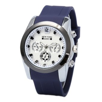 Newyork Army Men's White/Navy Blue Rubber Strap Watch 8824