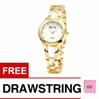 Newyork Army NYA180 MOP Mother of Pearl Ladies Watch - Gold with free Newyork Army Drawstring Backpack