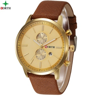 NORTH Men Business Watch Famous Brand Design Male Clock 30MWaterproof Casual Genuine Leather Quartz Fashion Casual Watch Men6008 - intl