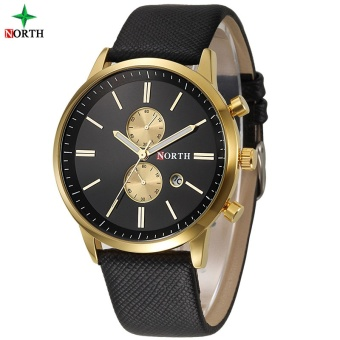 NORTH Men Business Watch Famous Brand Design Male Clock 30MWaterproof Casual Genuine Leather Quartz Fashion Casual Watch Men6008 - intl Price Philippines