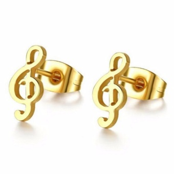 Notes Gold Stainless Steel Stud Earrings With Free Heartbeat Stud Stainless Steel Gold Earrings