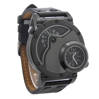 OEM Oulm Russian Military Jam Tangan Pria - Hitam - Strap Kulit - Quartz Movement Watch Price Philippines