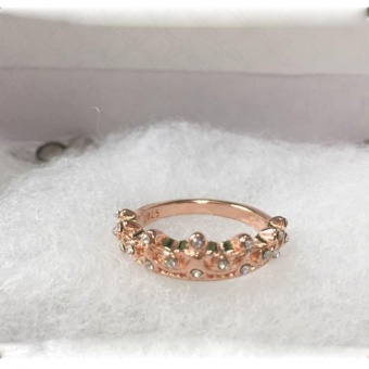 Okdeals Rose Gold Band Rhinestone Rings Queen Crown Princess Women- intl