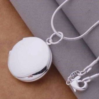 Okdeals Round LOCKET Photo Charm Pendant Necklace silver