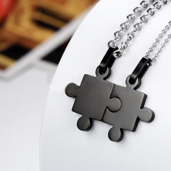 One Pair New Jewelry Couple Titanium Steel Puzzle Necklace Chunky Accessories - intl