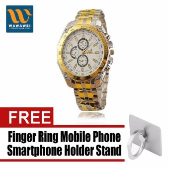 ORLANDO 410 Fashion Men Alloy Watch Hot Sale Gold Color BusinessWatch Wrap Quartz Dress Watch with free Finger Ring Mobile PhoneSmartphone Holder Stand for iPhone (Color May Vary)