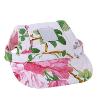 Oxford Canvas Cute Pet Dog Casual Baseball Cap Sun Hat with withEar Holes(Pink)-S - intl