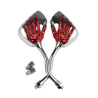 Pair Motorcycle Motorbike Black Skull Skeleton Hand Claw SideMirrors Rear View (Red) - intl