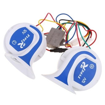 Paired Universal 12V Motorcycle Loud Alarm Horn(BLUE ANDWHITE)(...) - intl Price Philippines