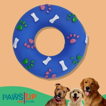 Paws UP Rubber Paw Prints and Bones Doughnut Ring Squeaky SqueakerDog Chew Toy(blue) Price Philippines