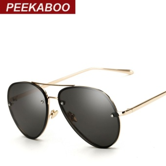 Peekaboo Aviator Sunglasses Clear Tinted Lens Glasses Cheap Fashion Ocean Eyewear Black Lens Metal Frame Stylish Sun Glasses Women Men UV400 Sun Shades (Black Lens) - intl