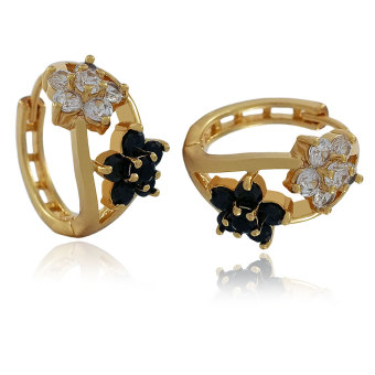Persian Princess Tara Black & White Flower Stones Earrings(Gold)
