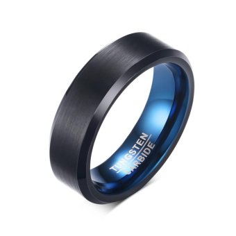 Personality High Quality New Tungsten Inner Ring Blue Outer Ringblack Mens Jewelry Size 7 12