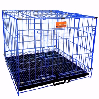 Pet Crates EL-1.5 Foldable Dog Cage w/ Plastic tray (Blue)