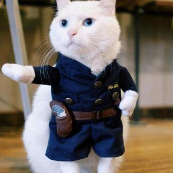 Pet Policeman Pet Dog Cat Costume Jeans Clothes Funny Apperal 2 -intl