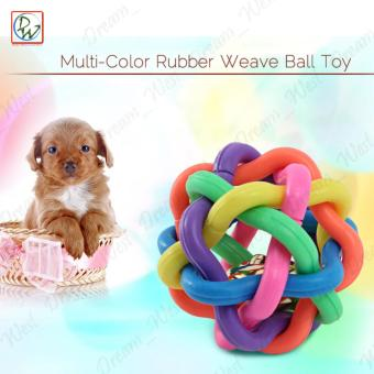 Pet Rubber Bell Playing Weave Ball Toy Dog Rubber Weave Ball Toy(Multi-Color)