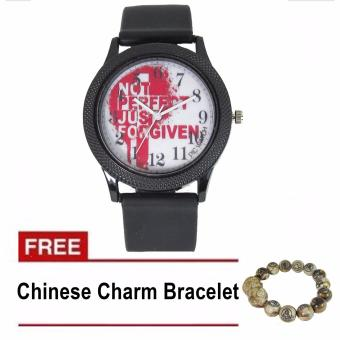 PIC Watch Not Perfect Just Forgiven Inverted Dial Silicone Strap Watch (Black) With Free Chinese Charm Bracelet