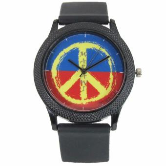 PIC Watch Peace Sign Marawi Aid Watch Black Silicone Strap Watch