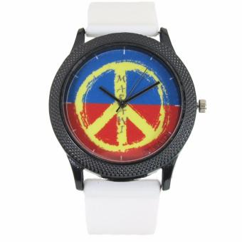 PIC Watch Peace Sign Marawi Aid Watch White Silicone Strap Watch