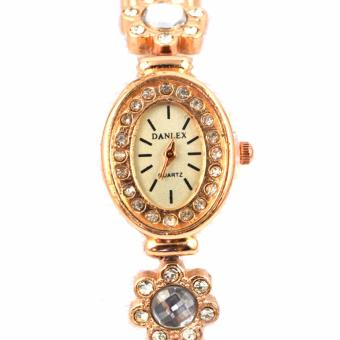 Piedras Danlex Women's 18k rose Gold plating cubic Zircone stoneStainless Steel Strap Watch ALL70
